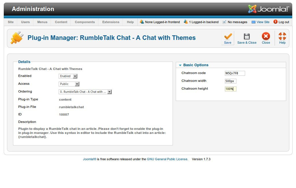 Chat Room Joomla
