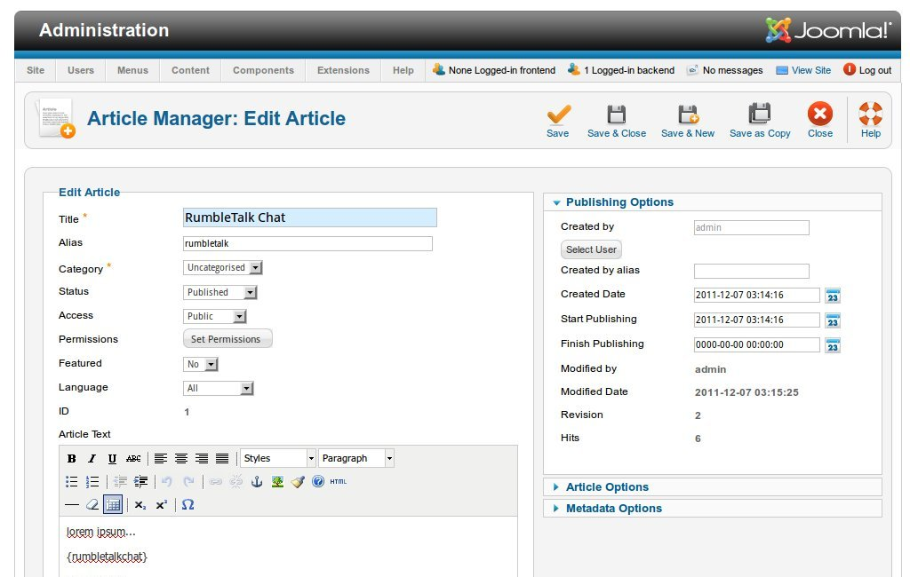 Joomla's article manager