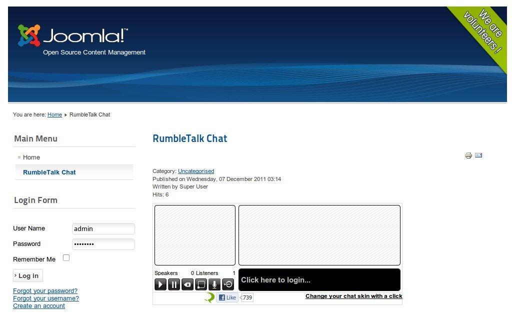 Example of the result of adding Joomla's RumbleTalk's shortcode