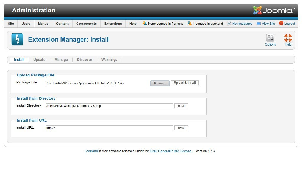 Joomla's extension manager