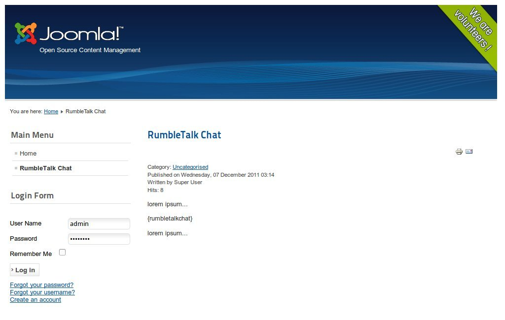 Example of the error in Joomla because of plug-in not installed