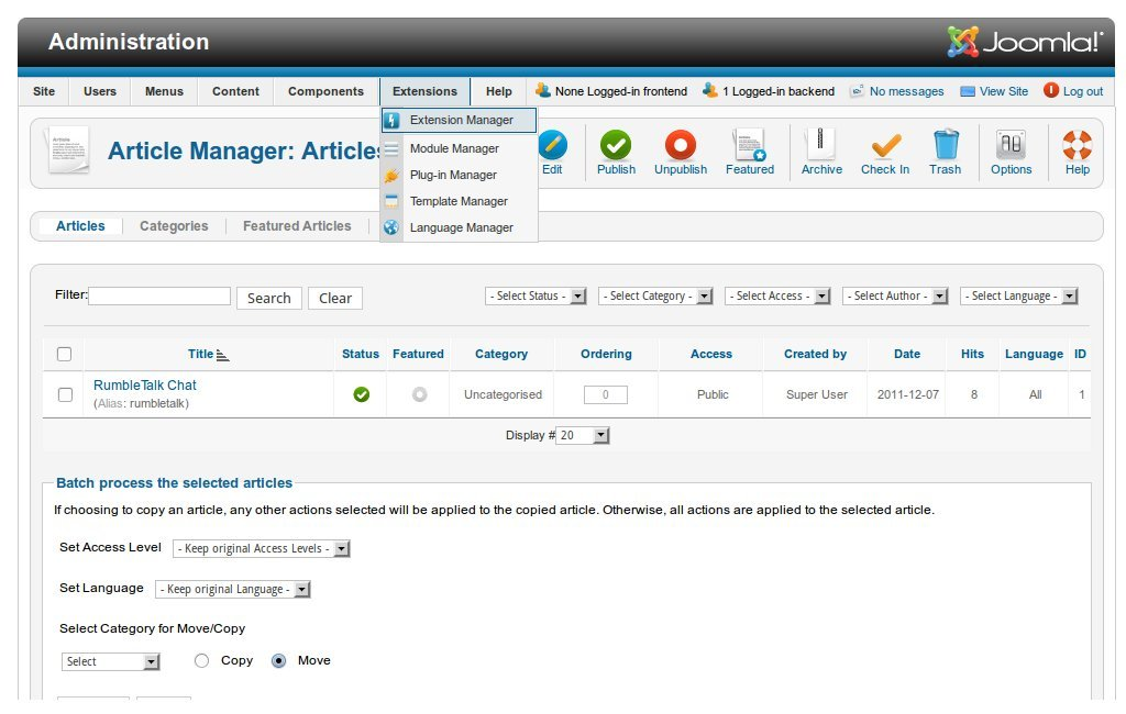 Go to Joomla's extension manager