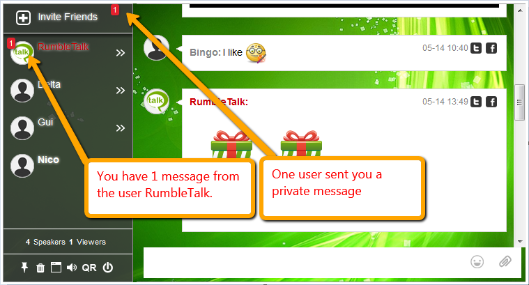 Chat indicator for private messages.