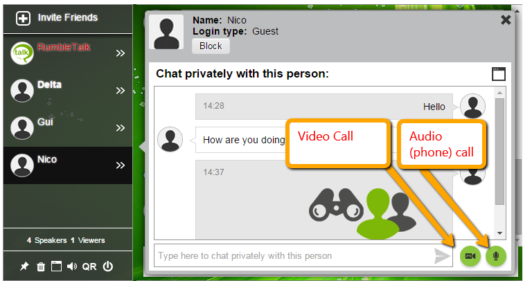 This will open a private chat window.