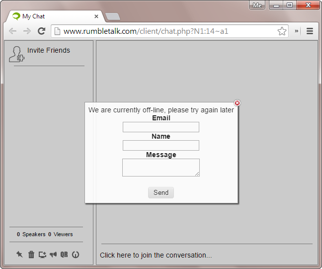 Users will see an offline contact form