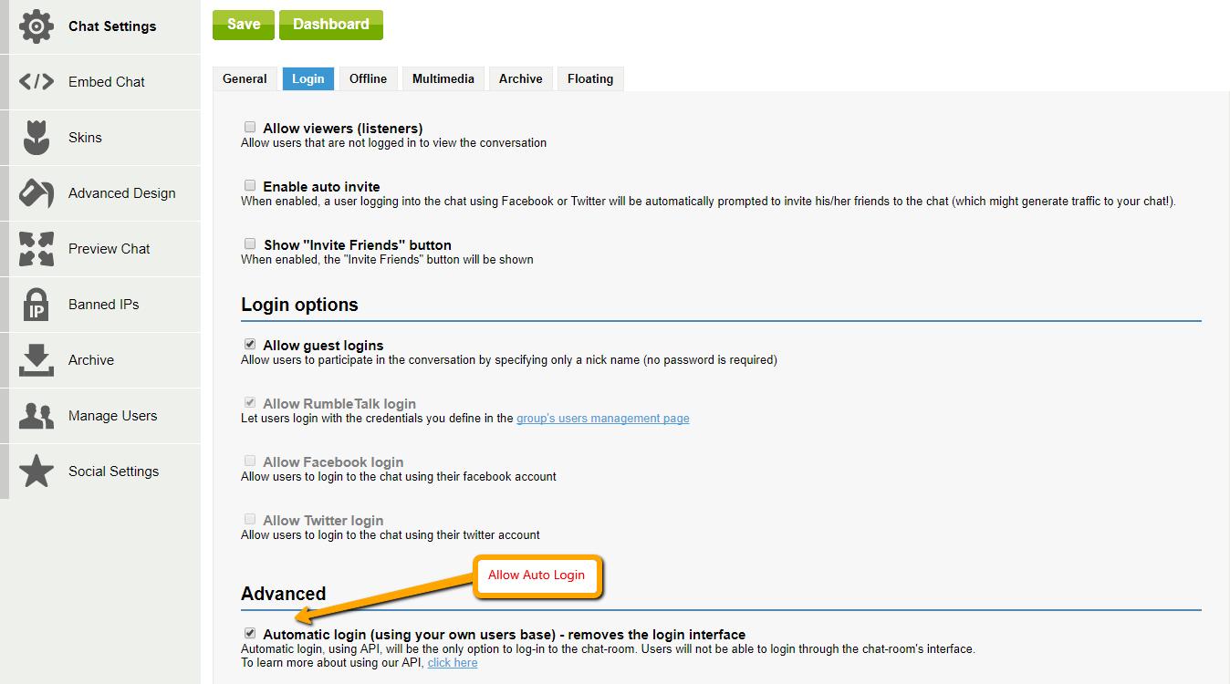 Using RumbleTalk API - sdk to auto login to the chat
