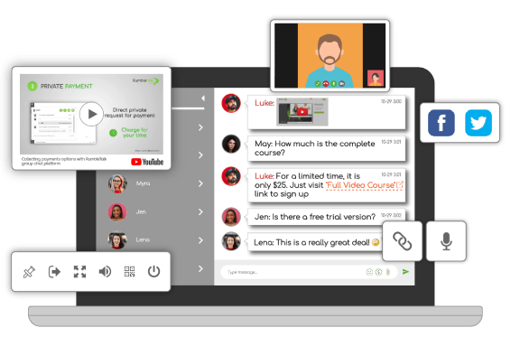RumbleTalk Group chat with multiple chat features